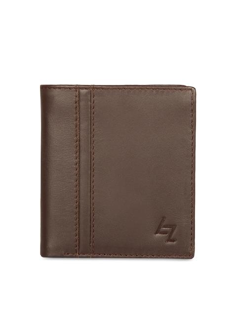 Leather Zentrum Men Brown Self Design Two Fold Wallet