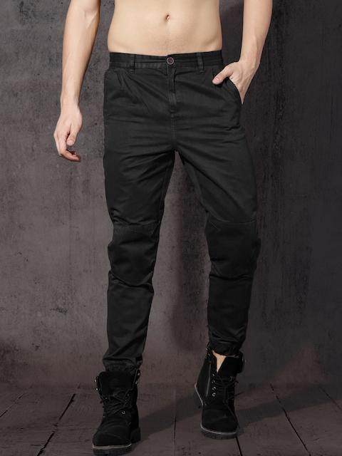 RDSTR Men Black Regular Fit Solid Joggers