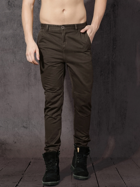 RDSTR Men Coffee Brown Regular Fit Solid Joggers