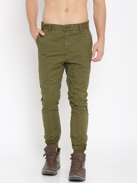 Roadster Men Olive Green Slim Fit Solid Joggers