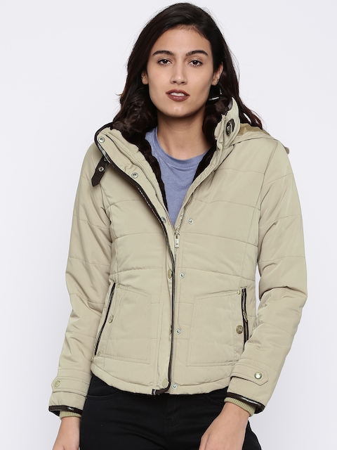 Madame Women Beige Solid Hooded Padded Jacket