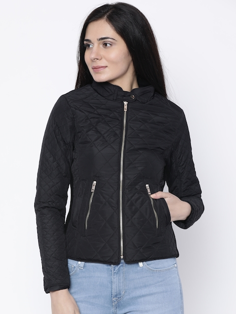 Madame Women Black Solid Quilted Jacket
