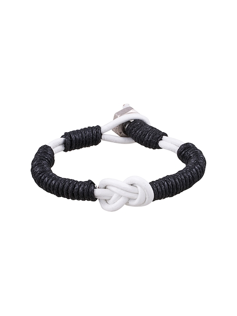 Being Human Jewellery Men Black & White Leather Bracelet