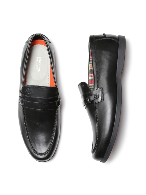 United Colors of Benetton Men Black Leather Loafers