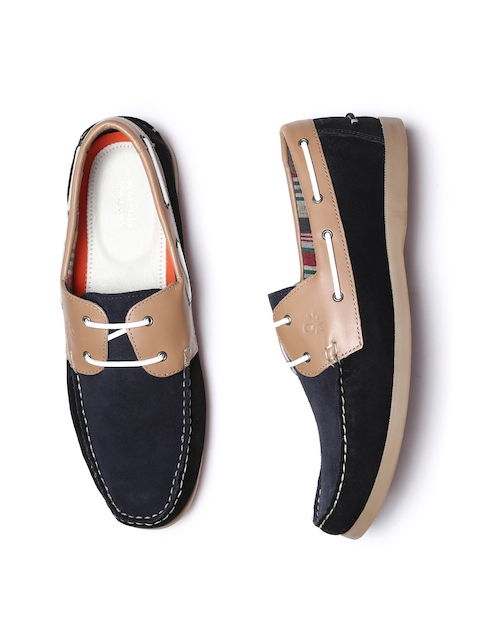 United Colors of Benetton Men Black & Beige Colourblocked Suede Boat Shoes