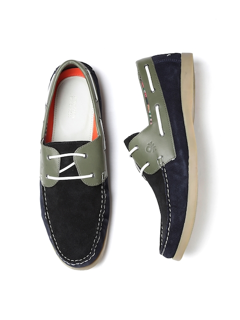 United Colors of Benetton Men Black & Navy Colourblocked Suede Casual Shoes