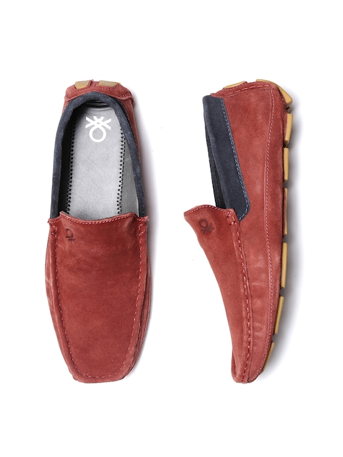 United Colors of Benetton Men Brick Red Leather Loafers