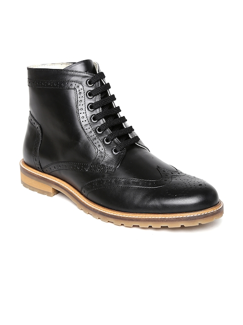 United Colors of Benetton Men Black Leather Flat Boots