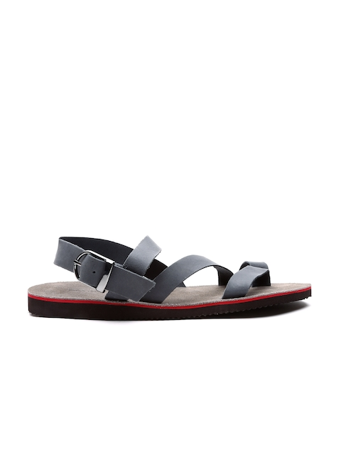 United Colors of Benetton Grey Leather Sandals
