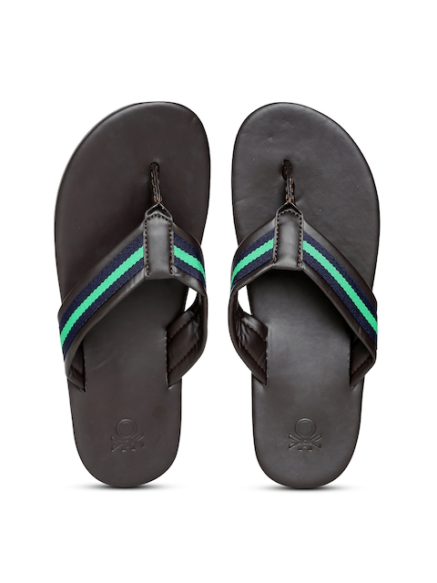 United Colors of Benetton Men Brown Striped Flip-Flops