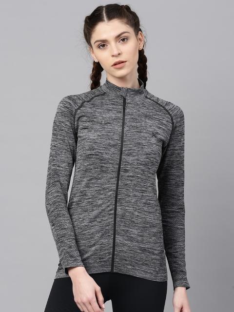 HRX by Hrithik Roshan Women Grey Solid Sporty Jacket