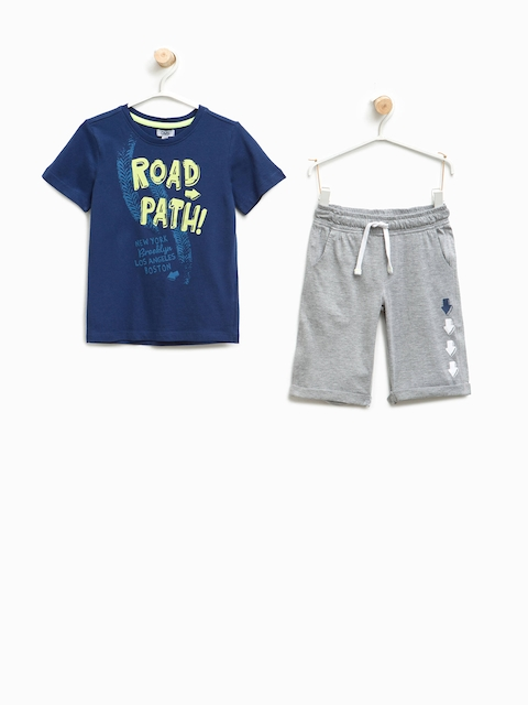 OVS Boys Blue & Grey Melange Printed T-shirt with Shorts