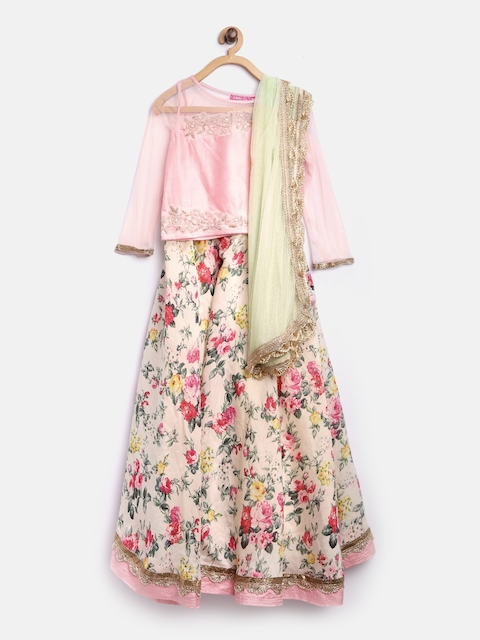 Biba Girls Cream-Coloured & Pink Floral Print Lehenga Choli with Dupatta