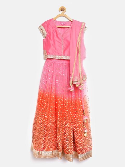Biba Girls Orange & Pink Embellished Lehenga Choli with Dupatta