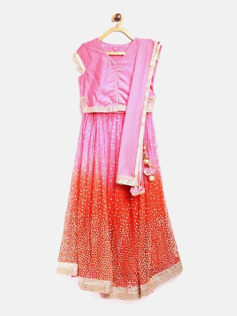 Biba Girls Pink & Orange Embellished Lehenga Choli with Dupatta