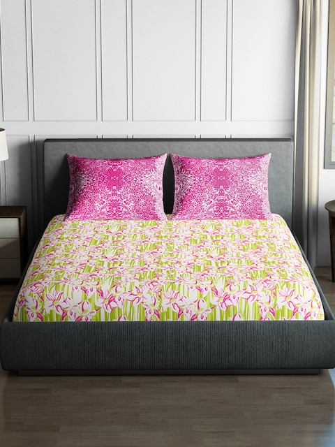 SPACES Pink & Green 144 TC Cotton Double Bedsheet with 2 Pillow Covers