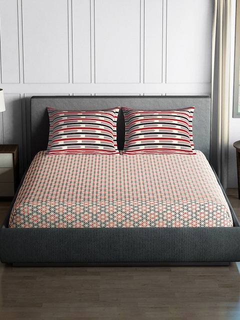 SPACES Black & Red 144 TC Cotton Double Bedsheet with 2 Pillow Covers