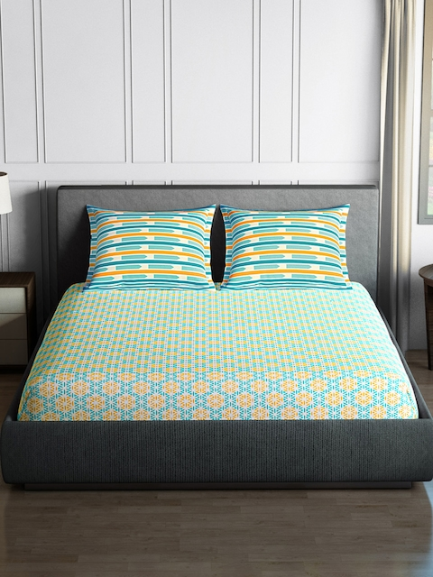 SPACES Blue & Yellow 144 TC Cotton Double Bedsheet with 2 Pillow Covers