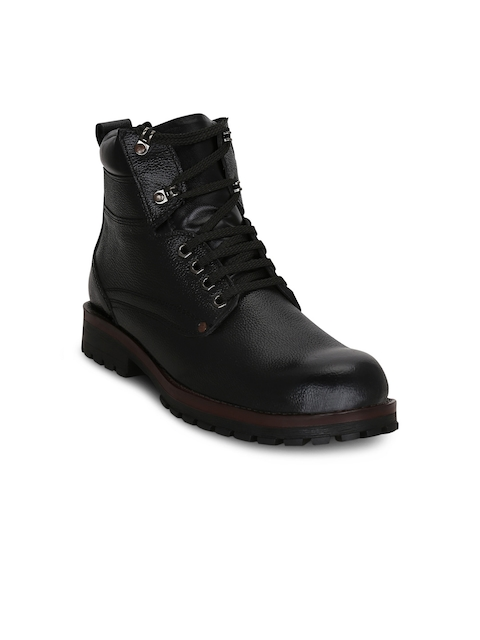 Kielz Men Black Solid Leather High-Top Flat Boots