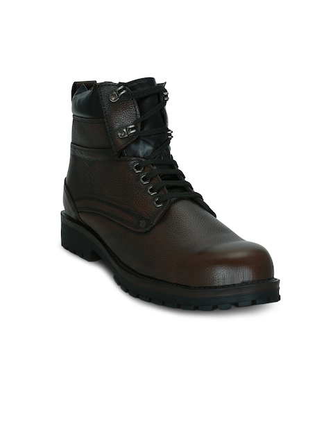 Kielz Men Brown Solid Leather High-Top Flat Boots