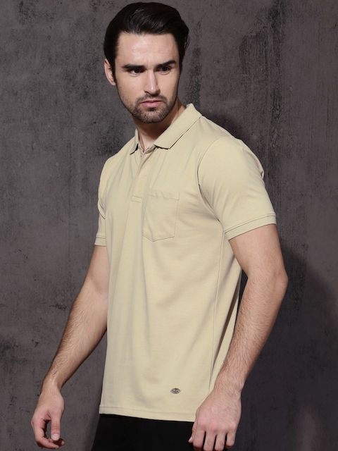 Roadster Men Beige Solid Polo Collar T-shirt