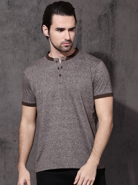 Roadster Men Brown Self-Design Mandarin Collar T-shirt  available at myntra for Rs.319