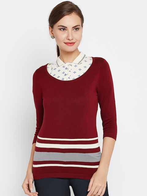 Wills Lifestyle Women Maroon Striped Fitted Top