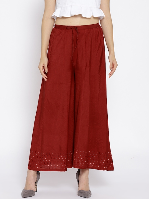 Biba Women Red Flared Solid Palazzos