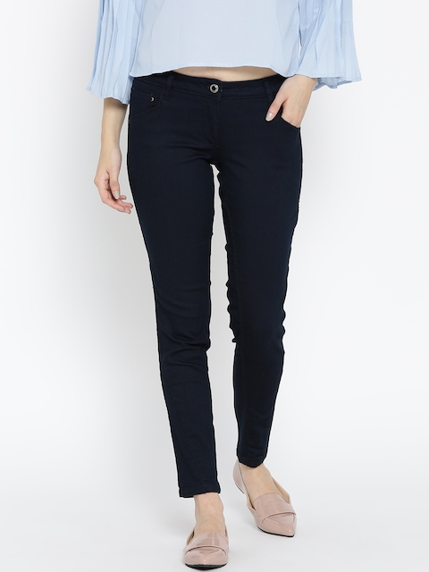 Wills Lifestyle Women Navy Skinny Fit Mid-Rise Clean Look Stretchable Jeans