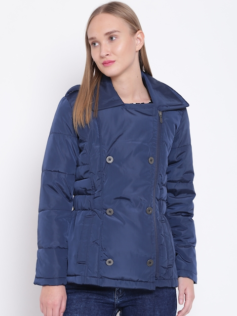Wills Lifestyle Women Navy Solid Quilted Jacket
