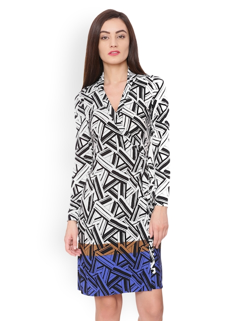 Avirate Women Black & White Printed Wrap Dress