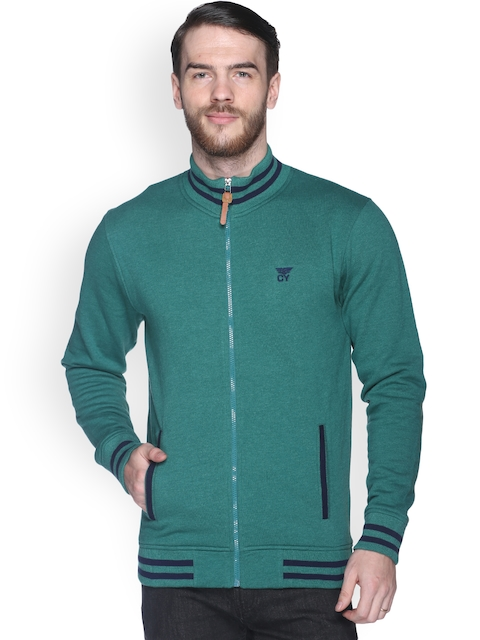 Club York Men Green Solid Sweatshirt