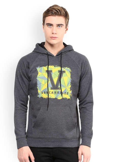 The Vanca Men Charcoal Grey Printed Hooded Sweatshirt