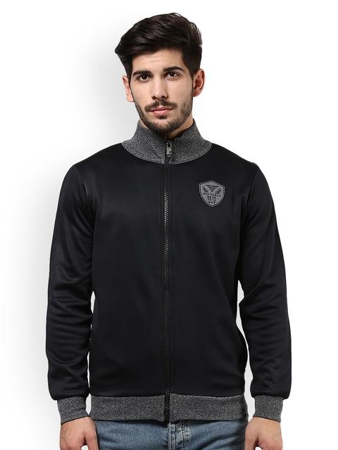 The Vanca Men Black & Grey Melange Solid Sweatshirt