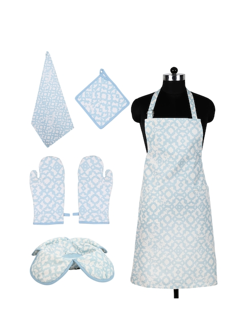 House This Blue Cotton Printed Kitchen Set