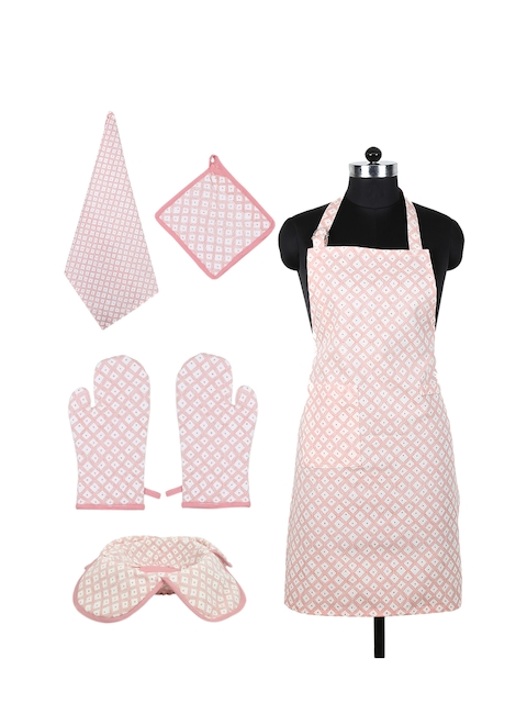 House This Pink Cotton Printed Kitchen Set