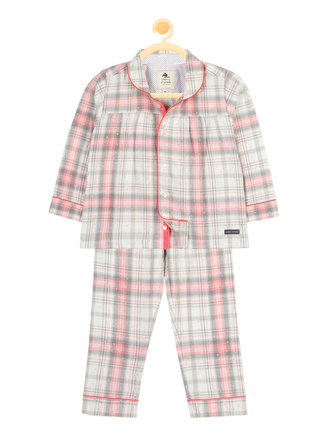 Cherry Crumble Girls Off-White & Pink Checked Night Suit