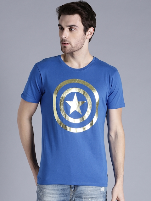 Kook N Keech Marvel Men Blue Printed Round Neck T-shirt  available at myntra for Rs.239