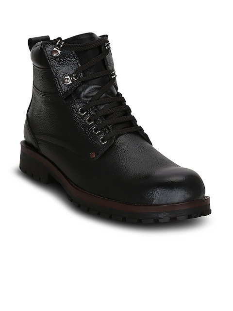 Get Glamr Men Black Solid Leather High-Top Flat Boots