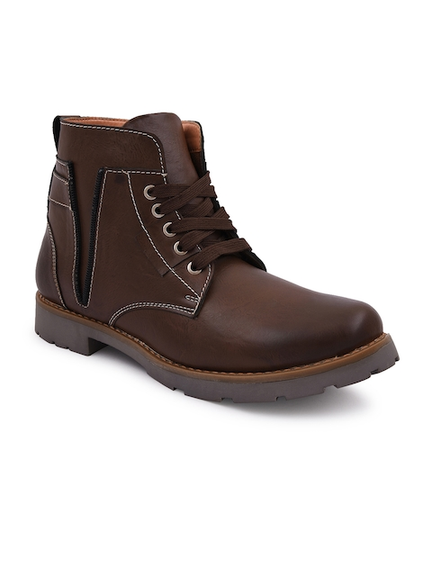 bacca bucci Men Brown Solid Leather High-Top Flat Boots