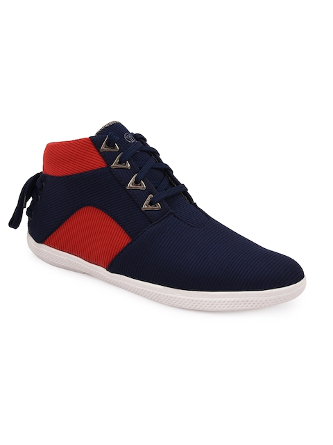 bacca bucci Men Blue & Red Colourblocked Canvas Sneakers