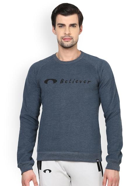 Arcley Men Navy Blue Solid Sweatshirt
