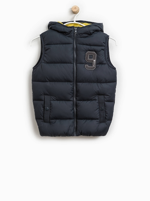 OVS Boys Navy Blue Solid Hooded Puffer Jacket