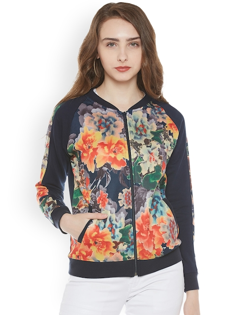 Miss Grace Women Navy Printed Sweatshirt