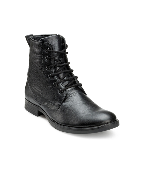 Escaro Men Black Solid Leather High-Top Flat Boots