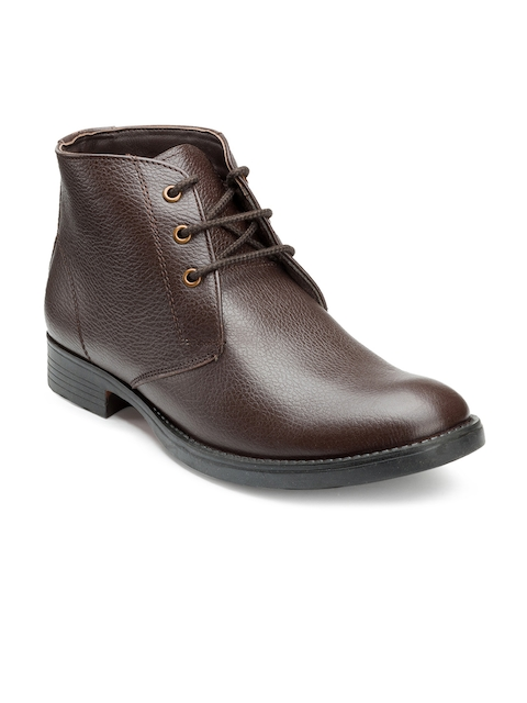 Escaro Men Brown Solid Leather High-Top Flat Boots