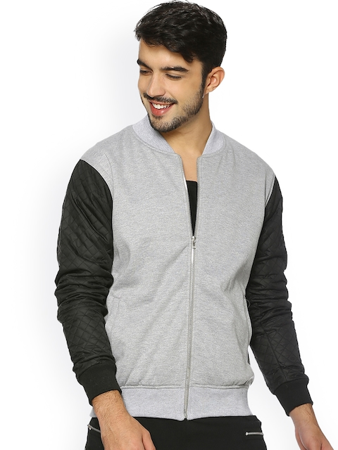 Campus Sutra Men Grey Solid Quilted Jacket