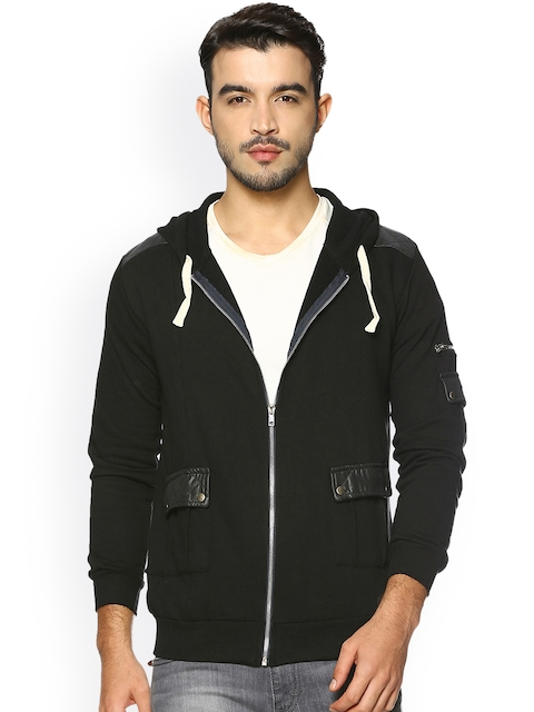 Campus Sutra Men Black Solid Hooded Jacket