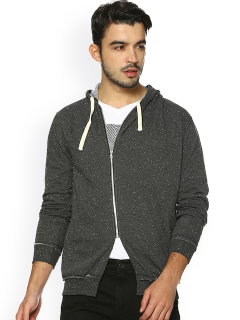 Campus Sutra Men Charcoal Solid Tailored Jacket
