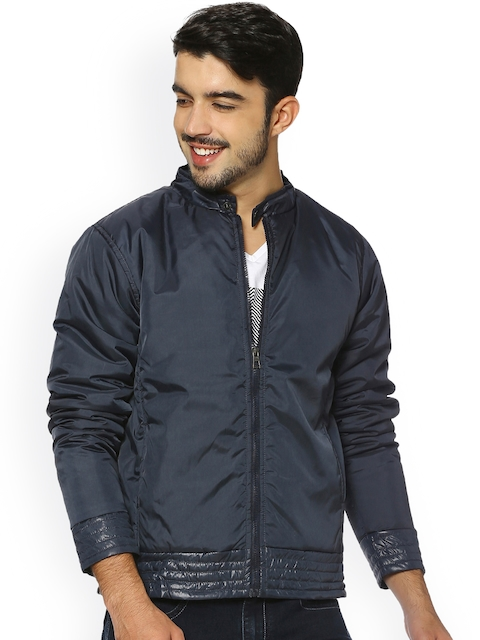 Campus Sutra Men Blue Solid Bomber